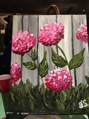 Hey, Hey, Hydrangeas: my first Paint Nite painting, March 2016.